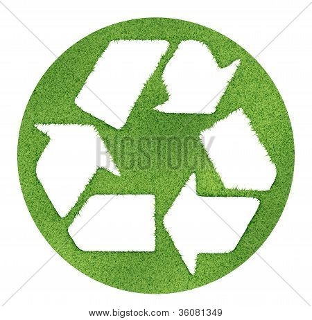 Recycle Symbol Made On Grass Outlines.