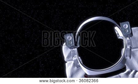 Astronaut In Space With Room For Your Text. 3D Illustration.