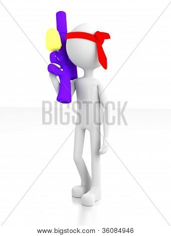3D Person Holding A Water Gun With A Tie Around His Head.
