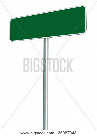 Blank Green Road Sign Isolated, Large White Frame Framed Roadside Signboard Perspective Copy Space