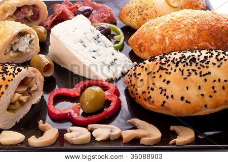 Bread Stuffed Mushroom, Blue Cheese And Pastrami