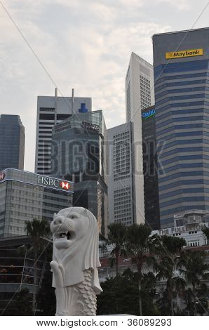 Merlion Statue and the Singapore Skyline