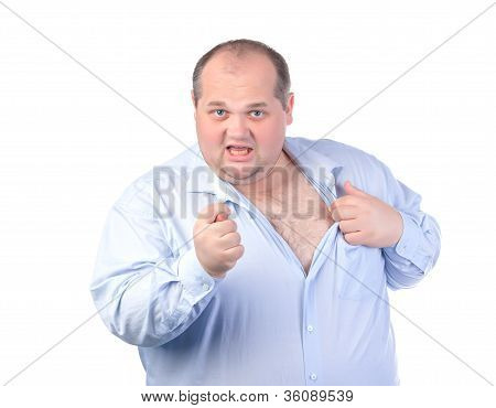 Fat Man In A Blue Shirt, Showing Obscene Gestures