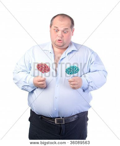 Fat Man In A Blue Shirt, With Lollipop