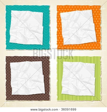 Torn scratch paper vintage background. Vector texture.