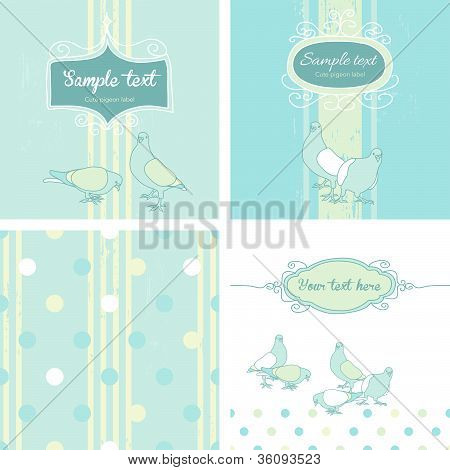 Cute Pastel Pigeon Design Collection