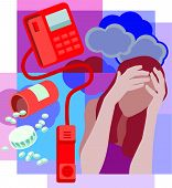 Collage Of A Bottle Of Spilled Pills; A Telephone With Receiver Off The Hook And A Woman Holding Hea