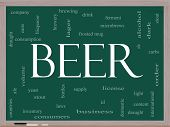 picture of draught-board  - Beer Word Cloud Concept on a Blackboard with great terms such as frosted mug lager ale alcohol stout drink and more - JPG