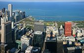 foto of prudential center  - Chicago Park aerial panoramic view from Sears tower - JPG