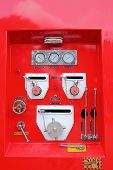 image of vacuum pump  - The fire control panel of fire truck - JPG