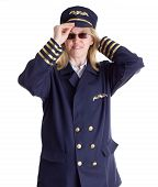 stock photo of stewardship  - Female pilot putting on her pilot cap - JPG
