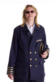 picture of stewardship  - Female pilot holding her cap in her hand - JPG