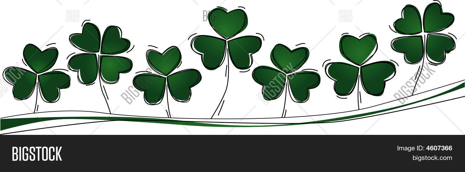 three lucky four leaf clovers row vector u0026 photo bigstock