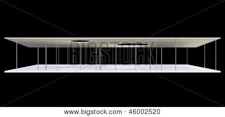 Elevation Of Conceptual Modern Building On Black