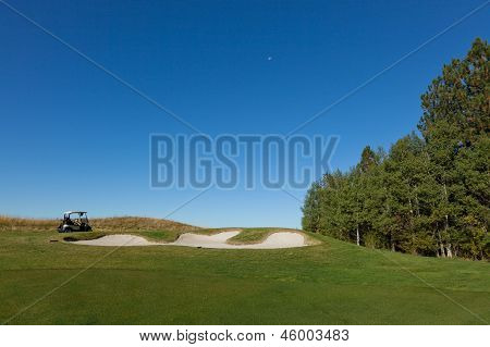Golf Cart Above Sand Trap
