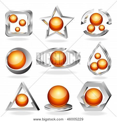 3d vector business abstract icons set. Chrome and orange.