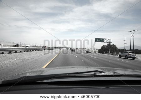 Driving in a car to Palm Springs California
