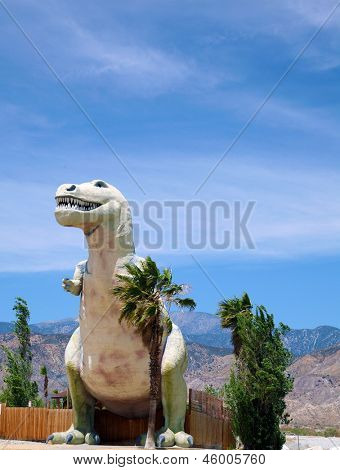 T-Rex AKA Tyrannosaurus statue as a Road Side Attraction on the way to Palm Springs California