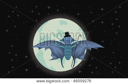 Bat and full moon