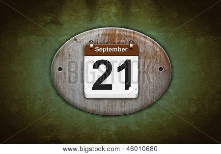Old Wooden Calendar With September 21.