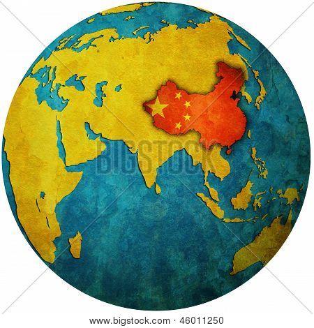 China On Globe Map