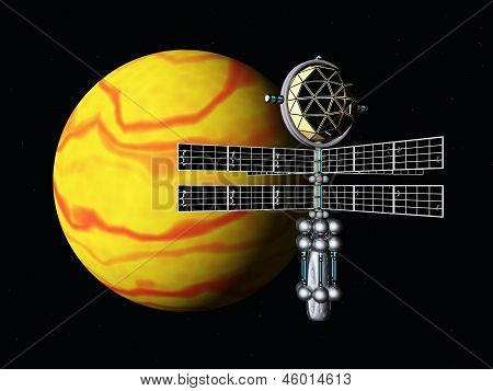 Yellow Planet with Space Probe