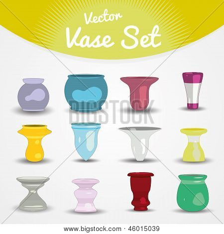Colorful vase and recipes set of 25 pieces, cartoon style vector illustration