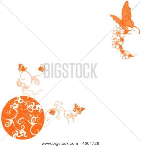 Orange Floral Butterfly Background