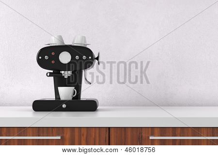 Coffee Maker With White Wall