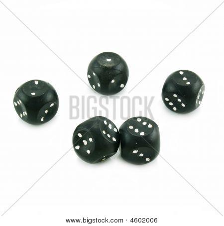Five Black Plastic Dices