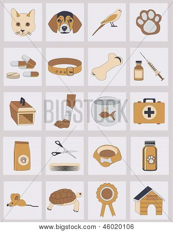 set of veterinary vector icons