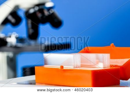 Glass slides for microscopes in a laboratory
