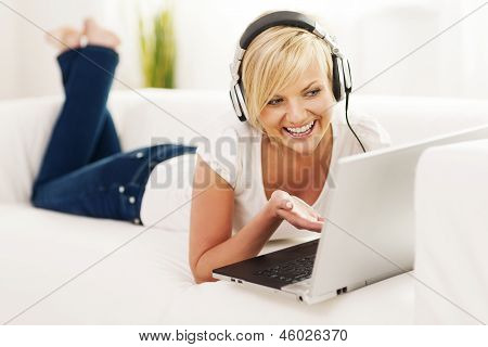 Woman enjoying video chat