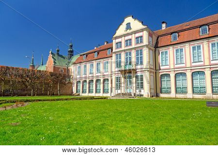 Summer scenery of Abbots Palace in Gdansk Oliwa, Poland