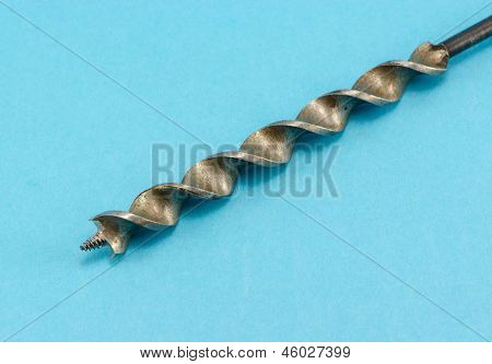 Special Wood Drill Bit On Blue Background