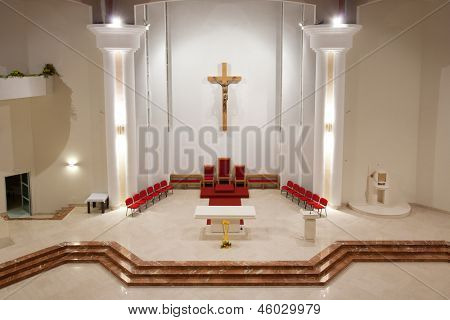 ZAPRESIC, CROATIA - MAY 25: Modern new Zapresic church interior on May 25, 2013 in Zapresic, Croatia. The church was built for 20 years and was consecrated on May 26.