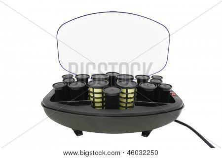 heated hair rollers under the white background