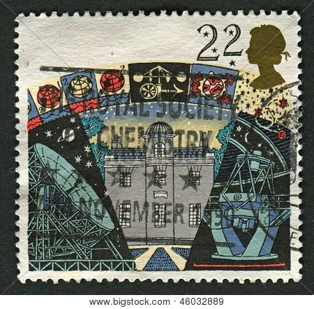 UK - CIRCA 1990: A stamp printed in UK shows image of the Armagh Observatory, Jodrell Bank Radio Telescope and La Palma Telescope,Astronomy, circa 1990.