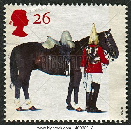 UK - CIRCA 1997: A stamp printed in UK shows image of the Lifeguards Horse and Trooper,