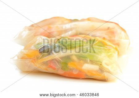 Spring Rolls On A White Background