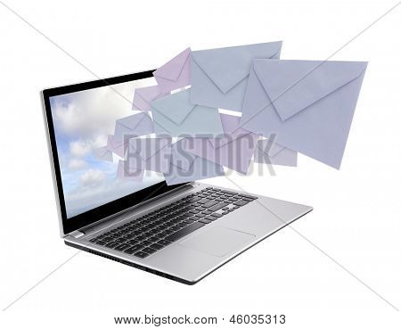 Laptop with envelopes coming out of the screen