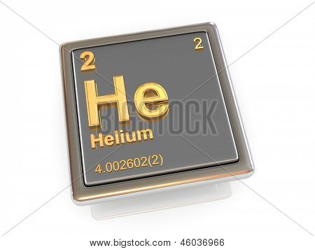Helium. Scheikundig element. 3D