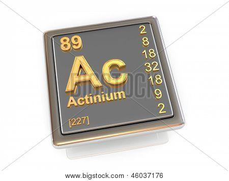 Actinio. Elemento químico. 3D