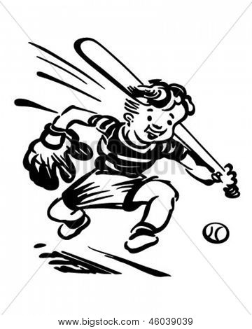 Baseball Kid - Retro Clip Art Illustration