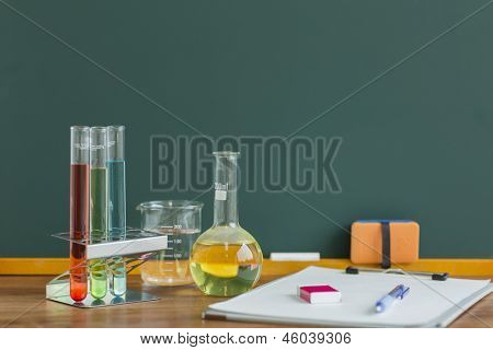 A blackboard and labware