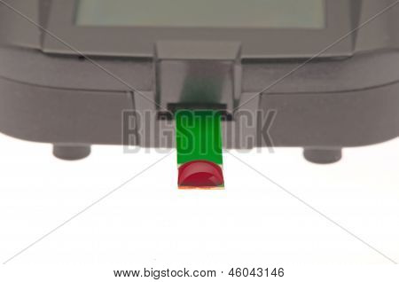 diabetic glucometer with blood drop isolated