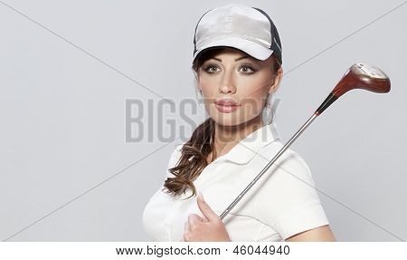 Portrait Of Attractive Female Golf Player.