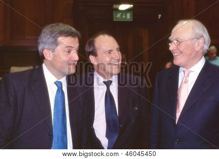 LONDON - FEBRUARY 23: Candidates for the leadership of the Liberal Democrat party attend a public debate on February 23, 2006 in London. L-R Chris Huhne, Simon Hughes, Sir Menzies Campbell.