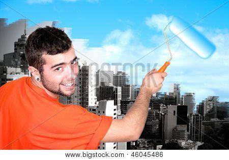 Man Painting Sky