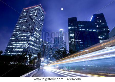 Traffic Through Los Angeles Under The Moonlight